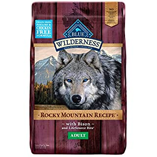Blue Buffalo Wilderness Rocky Mountain Recipe High Protein Grain Free, Natural Adult Dry Dog Food, Bison 22-lb