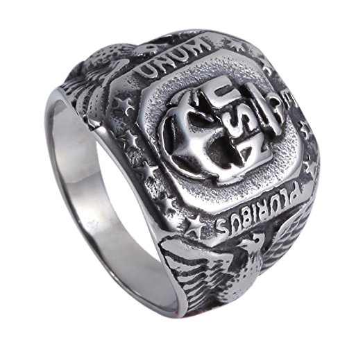 WWII USN Navy USS Ship 361L Stainless Steel Anchor America Ring Size 7-13