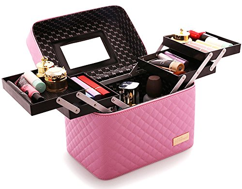 Cases Makeup Pink - Sooyee Multifunction Travel Cosmetic Bag with Mirror Portable Train Makeup Case 4 Foldable Makeup Tray for Cosmetics Makeup Brushes Toiletry Jewelry Digital accessories (PINK)