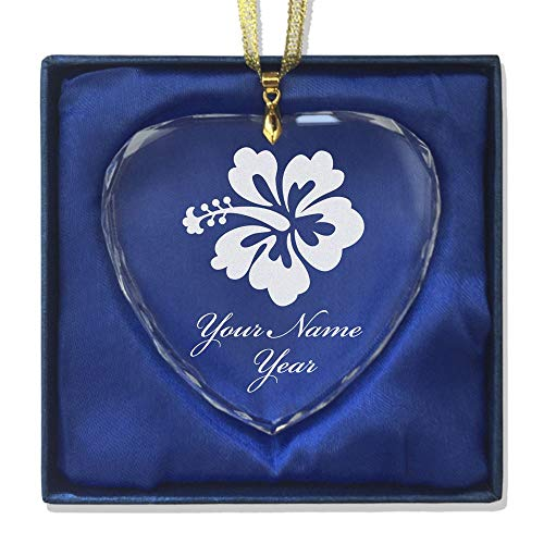 - SkunkWerkz Christmas Ornament, Hibiscus Flower 1, Personalized Engraving Included (Heart Shape)