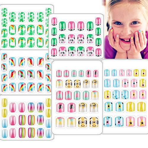 128 PCS Children Press On Nails Cute Fake Nail for Kids Short Full Cover Rainbow Gradient Artificial Gel False Nail Kit Stick On for Little Girls Decoration Manicure Christmas (Panda Set, 6 Boxes)