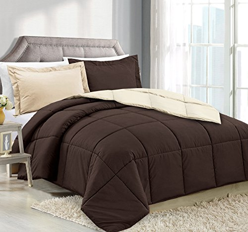 King Comforter Reversible Duvet Insert - Chocolate/Cream - H
