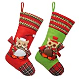 "KI Store Christmas Stockings Set of 2 Rustic Large Goody Gift Bags Ornaments for Kids 19"" Classic Xmas 3D Mr Owl Large Size Decorations Decor"