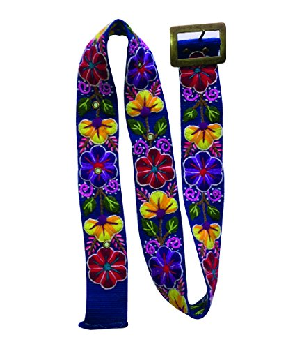 Alpaca Flowers - RAYMIS Womens Alpaca Wool Handmade Belt with Colorful Embroidered Flowers (Blue)