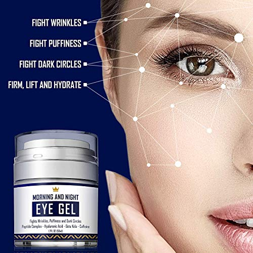 5154ilct3IL - Eye Cream - Dark Circles & Under Eye Bags Treatment - Reduce Puffiness, Wrinkles - Effective Anti-Aging Eye Gel with Hyaluronic Acid, Gotu Kola Extract and Caffeine - Refreshing Serum