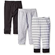 Luvable Friends Unisex 3 Pack Tapered Ankle Pants, Black Stripe, 0-3 Months