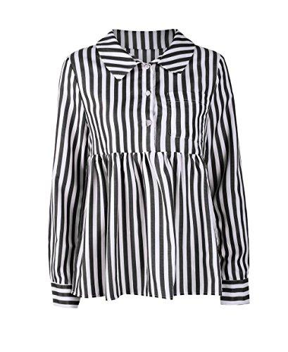 Shirts Automne Noir Printemps Shirt Revers Longues Femme Blouse Haut Casual et T Tops Tee Chemisiers Fashion Raye Legendaryman Manches PEHUqxq