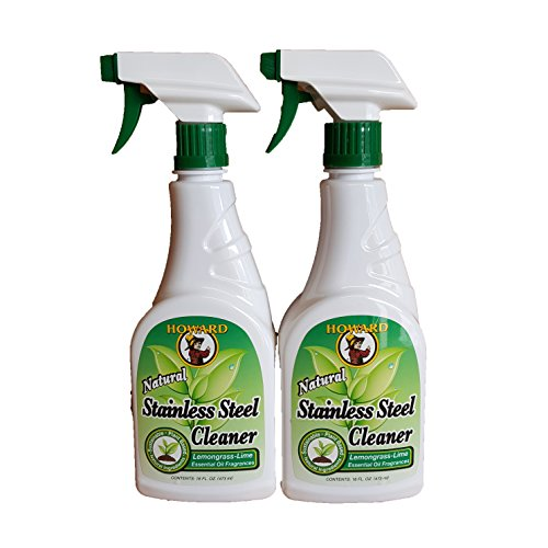 HHoward - Products Natural Stainless Steel Cleaner Trigger Spray, (2 X 16-Ounce) Bottles, (Lemongrass Lime)