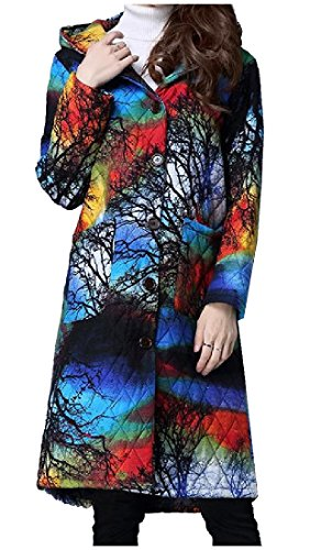SportsX Womens Ethnic Style Outwear Hood Comfy Linen Floral Parka Jacket Blue Small Coated Cotton Linen Jacket