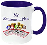 Rikki Knight ''My Retirement Plan is Bingo'' Funny Quotes Handle and Inside Design Ceramic Coffee Mug Cup, Dark Blue, 11 oz