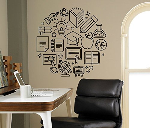 A Design World Wall Decal School Supplies Vinyl Sticker Education Library Classroom Interior Children Kids Room Removable Custom