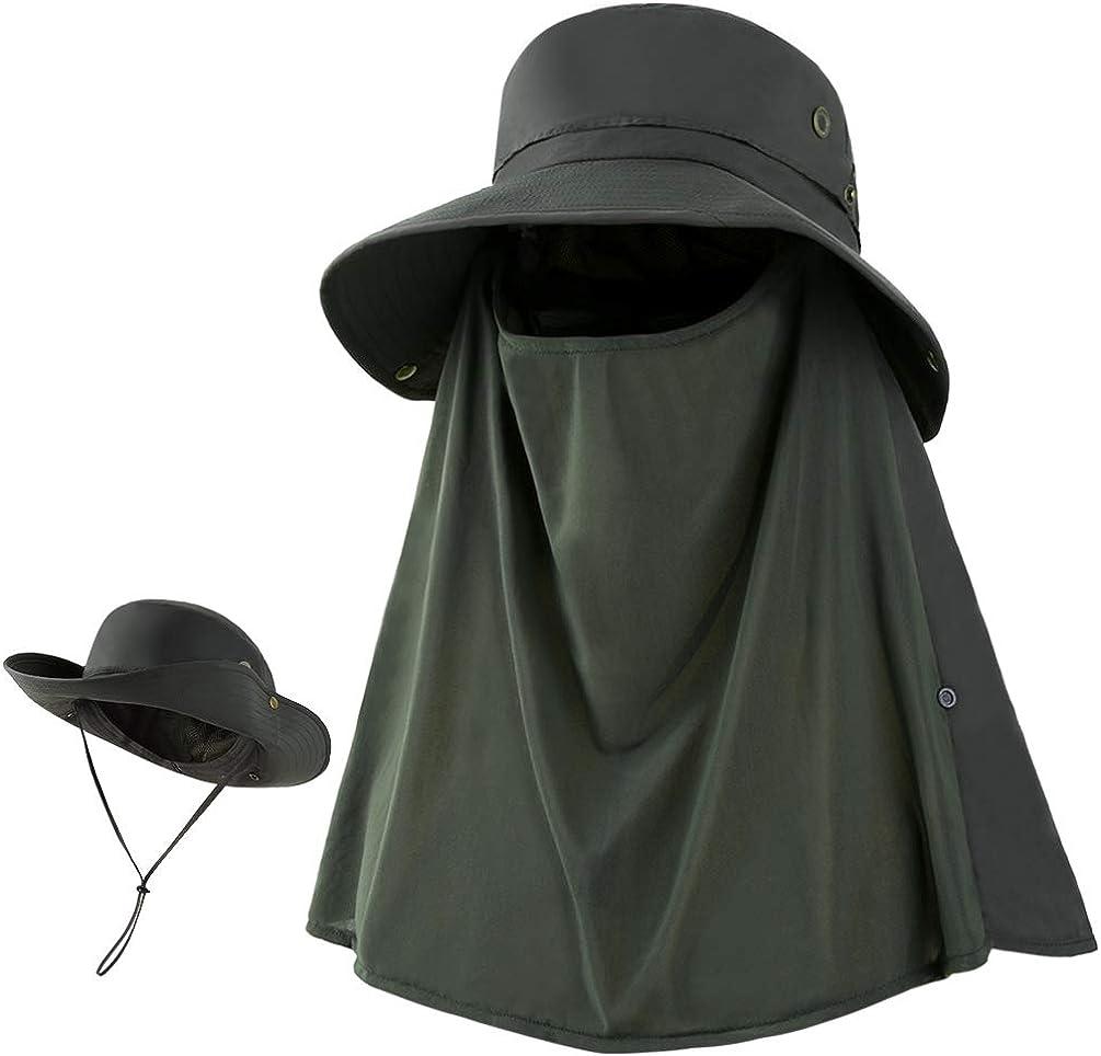 VBIGER Cappello da Sole Uomo Cappello Pescatore Uomo Cappello Trekking Uomo Estate Traspirante Pieghevole con Flaps Staccabili