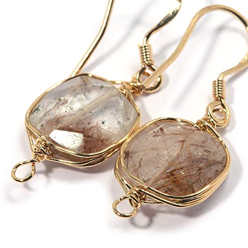 Natural Stone Wire Wrap Dangle Drop Earrings Gold Plated 925 Sterling Silver Hook/Brown Rutile Quartz Square