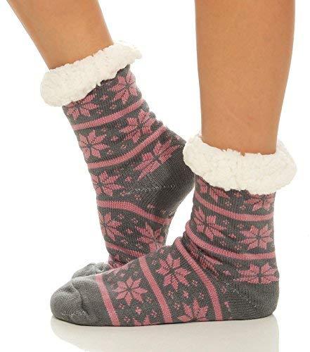 cleostyle - Calcetines de estar por casa - para mujer Dunkelgrau/Stern 35/42: Amazon.es: Ropa y accesorios