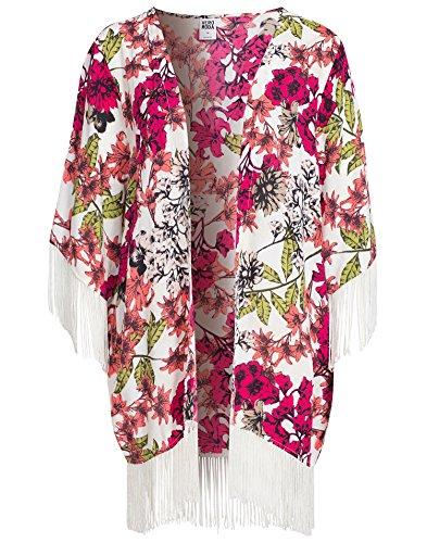 Vero Moda Women's Vmlily Fringes Kimono Snow White Size M/L 100% viscose.