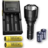 Bundle: Nitecore P30 1000Lm LED Flashlight + 2x Nitecore 1835, D2 Charger, 2x FREE Eco-Sensa CR123A Batteries