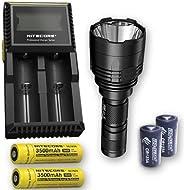 Bundle: Nitecore P30 1000Lm LED Flashlight + 2X Nitecore 1835, D2 Charger, & 2X Free Eco-Sensa CR123A Batt