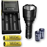 Bundle: Nitecore P30 1000Lm LED Flashlight + 2x Nitecore NL1835, D2 Charger, & 2x FREE Eco-Sensa CR123A Batteries