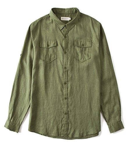 - BYLUNTA Men's 100% Linen Long Sleeve Double Pockets Outdoor Hunting Shirt Regular Fit (Large,Olive Green)