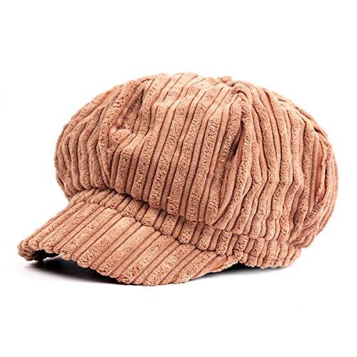 ZLSLZ Womens Corduroy Striped Octagonal Ivy Newsboy Cabbie Gatsby Painter Hats Caps