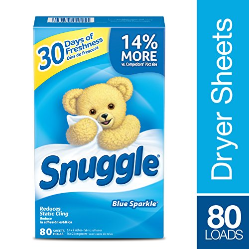 Snuggle Fabric Softener Dryer Sheets Blue Sparkle 80