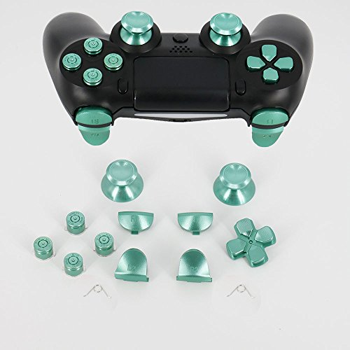 Full Aluminum Metal Buttons for PS4 Controller, YTTL Custom Metal Thumbsticks Analog Grip + Metal ABXY + D-pad + Metal L1 R1 L2 R2 Trigger Buttons for Playstation 4 DualShock 4 PS4 Controller - Green