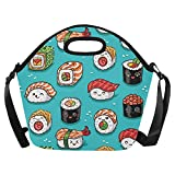 InterestPrint Cute Cartoon Rolls and Sushi Large Reusable Insulated Neoprene Lunch Tote Bag Cooler 15.04'' x 14.21'' x 6.69'', Tasty Japanese Food Portable Lunchbox Handbag with Shoulder Strap