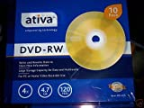 AtivaTM DVD-RW Rewritable Media With Slim Jewel Cases, 4.7GB/120 Minutes, Gold, Pack Of 10
