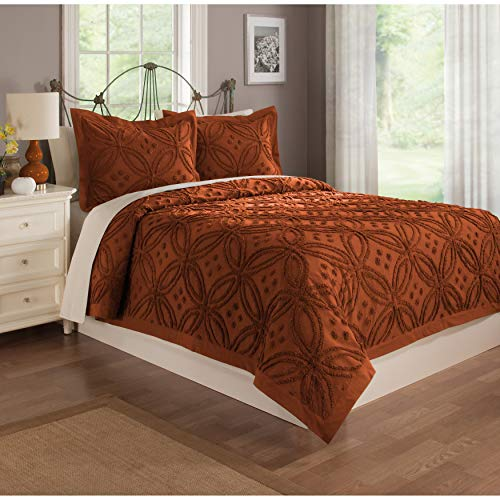 Imported Chatham Chenille Cozy Bedspread Burnt Orange King