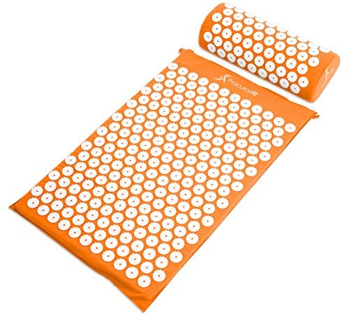 ProSource Acupressure Mat and Pillow Set for Back/Neck Pain Relief and Muscle Relaxation, Orange