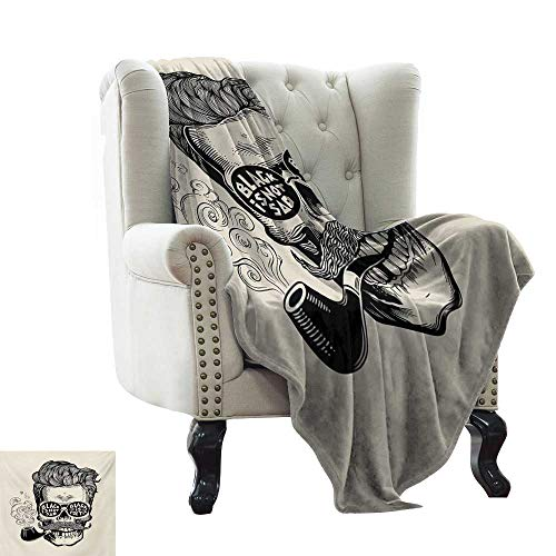 LsWOW Blanket as Bedspread Indie,Hipster Gentleman Skull with Mustache Pipe and Eyeglasses with Inscription Vintage,Black Cream Super Soft Faux Fur Plush Decorative Blanket 50