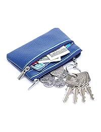 MuLier Genuine Leatherr Zipper Pocket Change Coin Purse Keychain Key Ring Case Blue