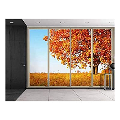 Wall26 - Orange Lone Tree During Fall Time on a Yellow Field Viewed from Sliding Door - Creative Wall Mural, Peel and Stick Wallpaper, Home Decor - 100x144 inches