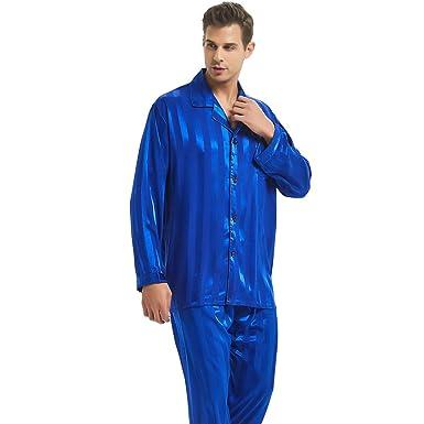 0bcbec898c2 Mens Satin Long Button-Down Pajamas Set S M L XL 2XL 3XL 4XL at ...