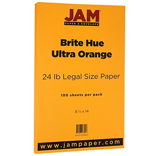jam-paper-recycled-legal-paper-85-x-14-24-lb-brite-hue-ultra-orange-100-pack