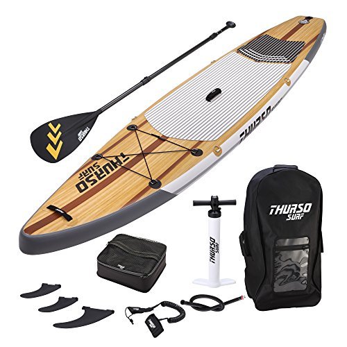 THURSO SURF Expedition Touring Inflatable Stand Up Paddle Board SUP 11'6 x 30'' x 6'' TWO LAYER Deluxe Package Includes CARBON Shaft Paddle/2+1 Quick Lock Fins/Deck Bag/Leash/Pump/Backpack by THURSO SURF