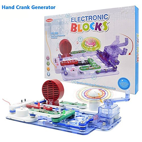GAMZOO Circuits Electronics Discovery Kit, 34pcs Circuit Toy with Hand Crank Generator Lighted Fan, FM Radio, Traffic Light-DIY Science Kit for ages 6+
