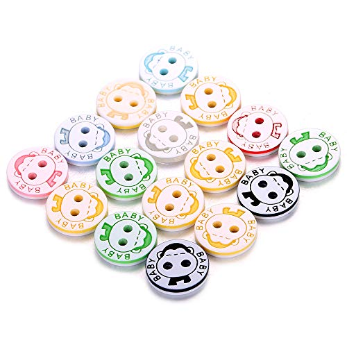 150 Pcs Assorted Colors Resin Buttons Monkey Shape Size 1/2 Inch Round Craft Buttons for Sewing DIY Crafts,Children's Manual Button - Button Monkey
