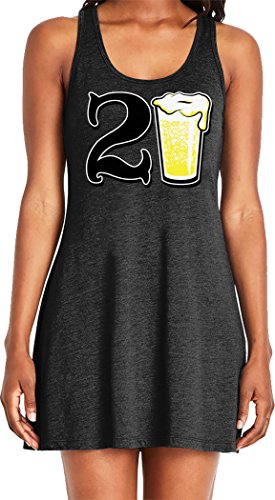 Amdesco Ladies 21 Years Old, 21st Birthday Casual Racerback Tank Dress, Black Small