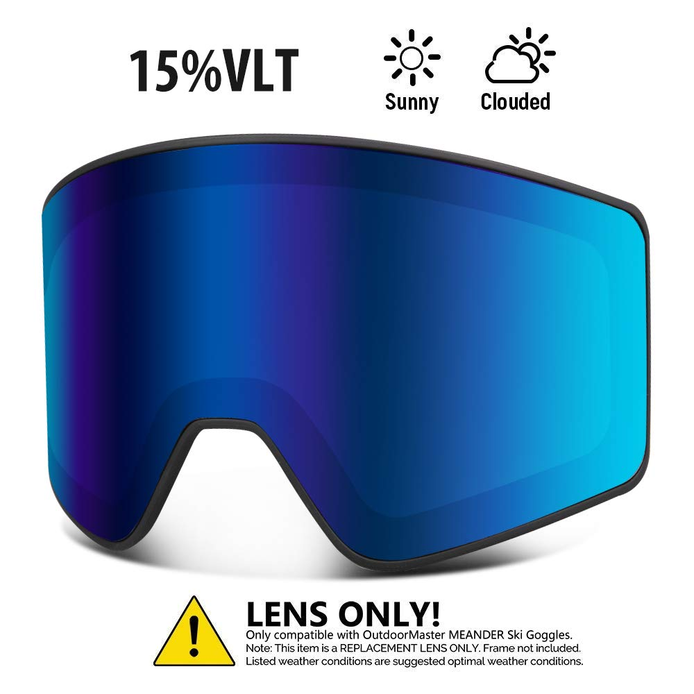 OutdoorMaster Cylindrical Style Replacement Lens - Anti-Fog & 100% UV400 Protection - for Men, Women & Youth - VLT 15% Blue