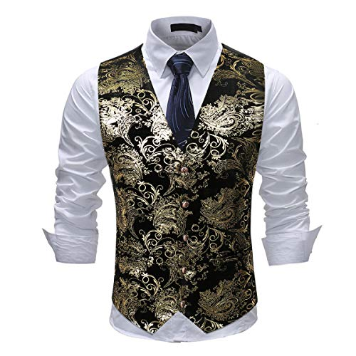 Cloudstyle Mens Single Breasted Vest Dress Vest Slim Fit Button Down Prom Formal Suit Vest Waistcoat Gold