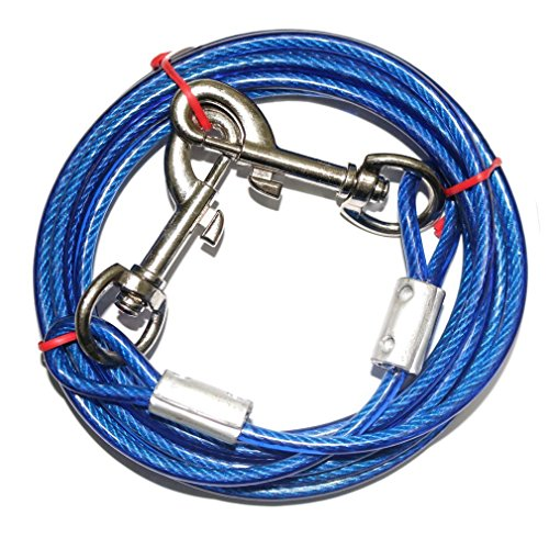 Vivian's bridal 16 FT Dog Tie Out Cable Leash Steel Wire Metal Chain Blue