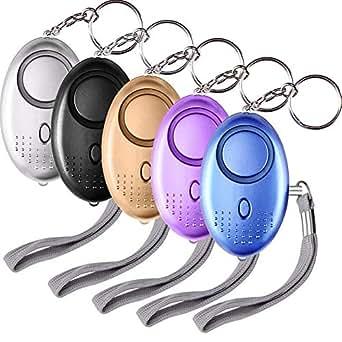 SUNMAY Alarma Personal, 5 Piezas 140DB Alarma Seguridad Autodefensa con Luz LED Llaveros para Mujeres, Niños, Ancianos, Turno nocturno