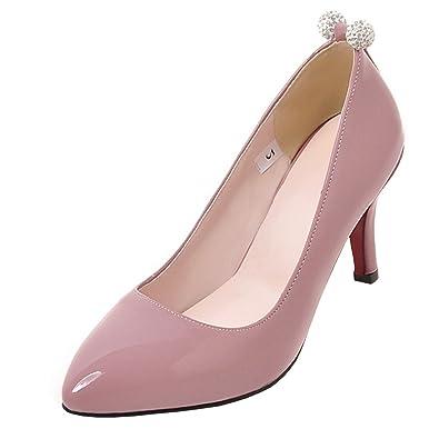 Damen Spitze High Heels Pumps mit Stiletto 6cm Absatz Elegant Lack Büro Arbeit Schuhe Agodor OdbCr2