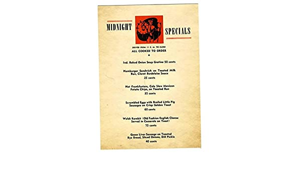 Columbus Ohio Back Pages >> Amazon Com The Lamplighter Midnight Specials Menu 1942