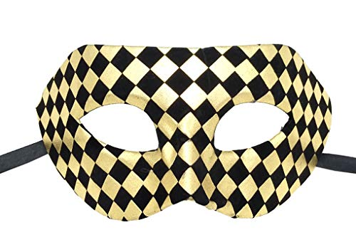 Coolwife Masquerade Mask Vintage Venetian Costume Mardi Gras Party Cosplay Ball Prom Mask (Check Black/Gold) ()