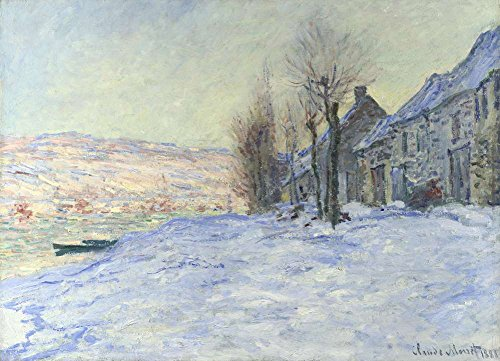 (JH Lacrocon Claude Monet - Lavacourt Under Snow 1881 Canvas Wall Art Rolled 120X85 cm (Approx. 48X34 inch) - Landscapes Paintings Reproductions Prints)