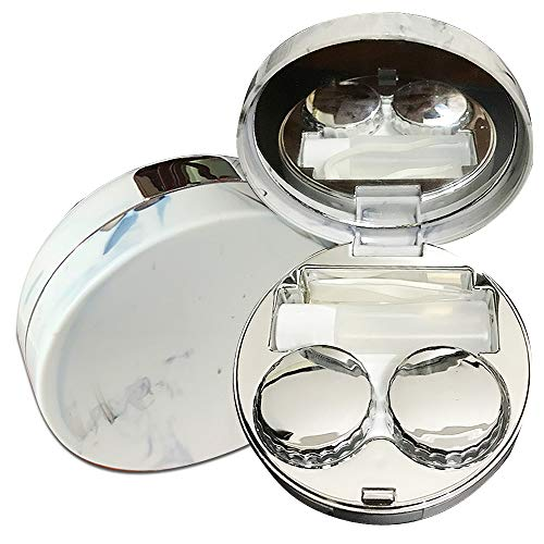 Portable Cute Contact Lens Case-Marble Eye Care Kit Holder Mirror Box-Marble Silver from Eztrvldirect