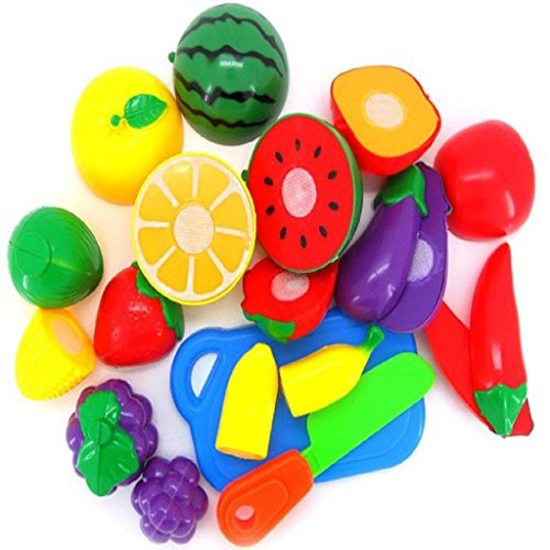Teresamoon 1 set contain 11pc Colorful Cutting Fruit Vegetable Pretend Play Children Toy