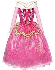 Katara 1742 - doornroosje Aurora prinses kostuum jurk sprookje, carnaval kinderverjaardag, maat 110 / fabrikantmaat- 116, roze